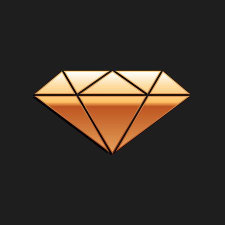 Gold Diamond icon isolated on black background. Jewelry symbol. Gem stone. Long shadow style. Vector Ilustracja