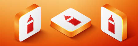 Isometric Baby bottle icon isolated on orange background. Feeding bottle icon. Milk bottle sign. Orange square button. Vector