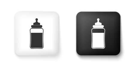 Black and white Baby bottle icon isolated on white background. Feeding bottle icon. Milk bottle sign. Square button. Vector