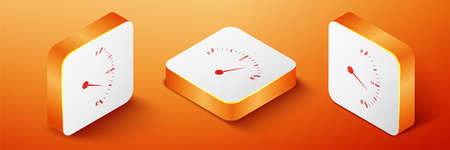 Isometric Motor gas gauge icon isolated on orange background. Empty fuel meter. Full tank indication. Orange square button. Vector