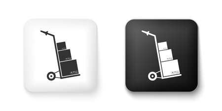 Black and white Hand truck and boxes icon isolated on white background. Dolly symbol. Square button. Vector