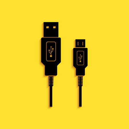 Black USB Micro cables icon isolated on yellow background. Connectors and sockets for PC and mobile devices. Smartphone recharge supply. Long shadow style. Vector
