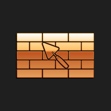 Gold Brick wall with trowel icon isolated on black background. Long shadow style. Vector