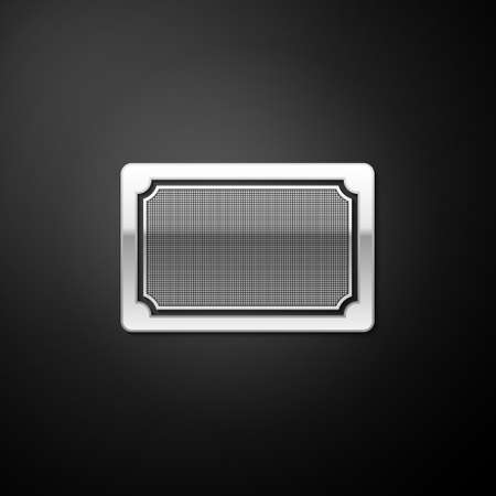 Silver Doormat icon isolated on black background. Welcome mat sign. Long shadow style. Vector