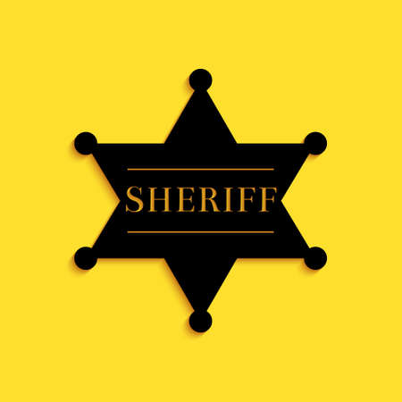 Black Hexagonal sheriff star icon isolated on yellow background. Sheriff badge symbol. Long shadow style. Vector