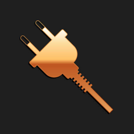 Gold Electric plug icon isolated on black background. Concept of connection and disconnection of the electricity. Long shadow style. Vector Иллюстрация