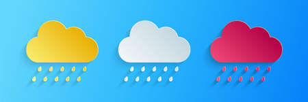 Paper cut Cloud with rain icon isolated on blue background. Rain nimbus cloud precipitation with rain drops. Paper art style. Vector