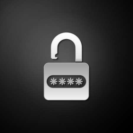 Silver Password protection and safety access icon isolated on black background. Lock icon. Security, safety, protection, privacy concept. Long shadow style. Vector