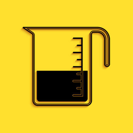 Black Measuring cup to measure dry and liquid food icon isolated on yellow background. Plastic graduated beaker with handle. Long shadow style. Vector