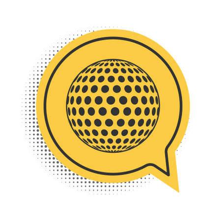 Black Golf icon isolated on white background. Yellow speech bubble symbol. Vector Illusztráció