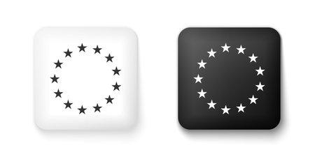 Black and white Flag of European Union icon isolated on white background. EU circle symbol. Waving EU flag. Square button. Vector Illusztráció