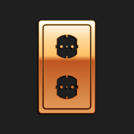 Gold Electrical outlet icon isolated on black background. Power socket. Rosette symbol. Long shadow style. Vector Illusztráció