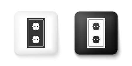 Black and white Electrical outlet icon isolated on white background. Power socket. Rosette symbol. Square button. Vector