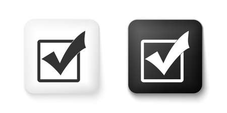Black and white Check mark in a box icon isolated on white background. Tick symbol. Check list button sign. Square button. Vector