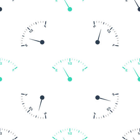 Green Motor gas gauge icon isolated seamless pattern on white background. Empty fuel meter. Full tank indication. Vector