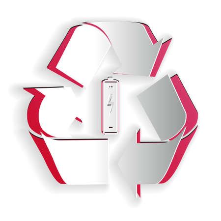 Paper cut Battery with recycle symbol icon isolated on white background. Battery with recycling symbol - renewable energy concept. Paper art style. Vector
