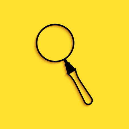 Black Magnifying glass icon isolated on yellow background. Search, focus, zoom, business symbol. Long shadow style. Vector Illusztráció