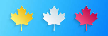 Paper cut Canadian maple leaf icon isolated on blue background. Canada symbol maple leaf. Paper art style. Vector