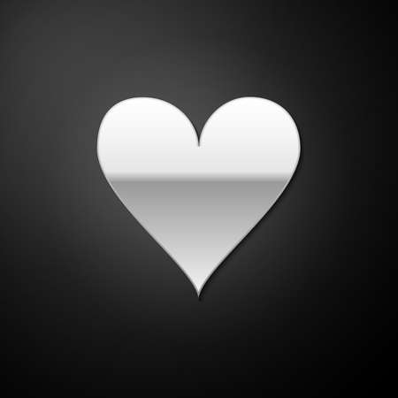Silver Heart icon isolated on black background. Love symbol. Valentines Day sign. Long shadow style. Vector