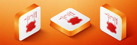 Isometric Vintage street signboard hanging on forged brackets icon isolated on orange background. Suitable for advertisements bar, cafe, pub, restaurant. Orange square button. Vector