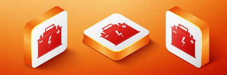 Isometric Car battery icon isolated on orange background. Accumulator battery energy power and electricity accumulator battery. Lightning bolt symbol. Orange square button. Vector