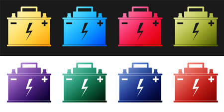 Set Car battery icon isolated on black and white background. Accumulator battery energy power and electricity accumulator battery. Lightning bolt symbol. Vector