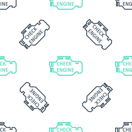 Green Check engine icon isolated seamless pattern on white background. Vector