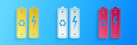 Paper cut Battery with recycle symbol - renewable energy concept icon isolated on blue background. Paper art style. Vector Ilustração