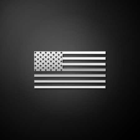 Silver American flag icon isolated on black background. Flag of USA. Long shadow style. Vector