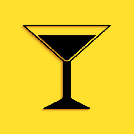 Black Martini glass icon isolated on yellow background. Cocktail icon. Wine glass icon. Long shadow style. Vector