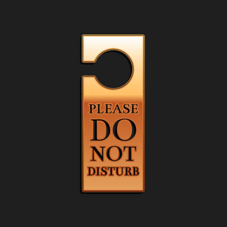 Gold Please do not disturb icon isolated on black background. Hotel Door Hanger Tags. Long shadow style. Vector