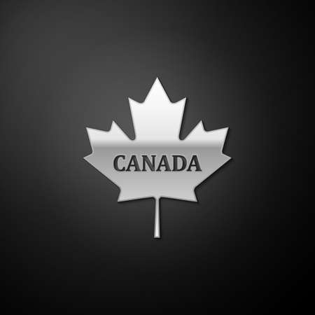 Silver Canadian maple leaf with city name Canada icon isolated on black background. Long shadow style. Vector