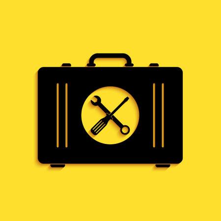 Black Toolbox icon isolated on yellow background. Tool box sign. Long shadow style. Vector Illusztráció