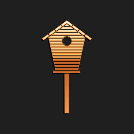 Gold Bird house icon isolated on black background. Nesting box birdhouse, homemade building for birds. Long shadow style. Vector Illusztráció
