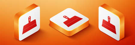 Isometric Putty knife icon isolated on orange background. Spatula repair tool. Spackling or paint instruments. Orange square button. Vector