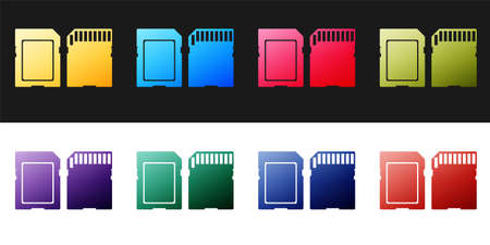 Set SD card icon isolated on black and white background. Memory card. Adapter icon. Vector Иллюстрация