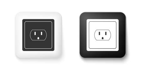 Black and white Electrical outlet in the USA icon isolated on white background. Power socket. Square button. Vector
