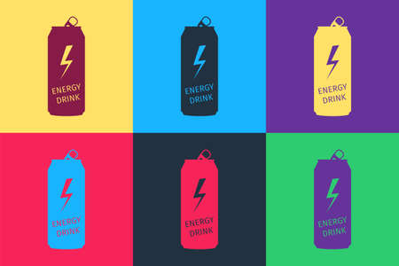 Pop art Energy drink icon isolated on color background. Vector Illusztráció