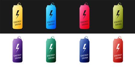 Set Energy drink icon isolated on black and white background. Vector Illusztráció