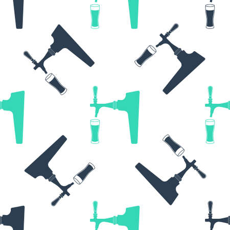 Green Beer tap with glass icon isolated seamless pattern on white background. Vector