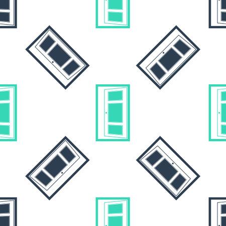 Green Open door icon isolated seamless pattern on white background. Vector Illusztráció