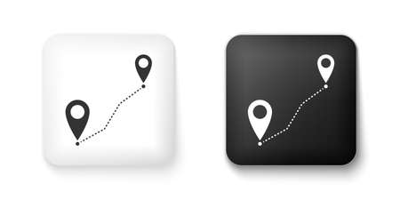 Black and white Route location icon isolated on white background. Map pointer sign. Concept of path or road. GPS navigator. Square button. Vector Illusztráció