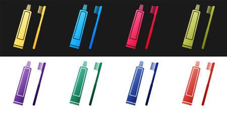 Set Tube of toothpaste and toothbrush icon isolated on black and white background. Vector