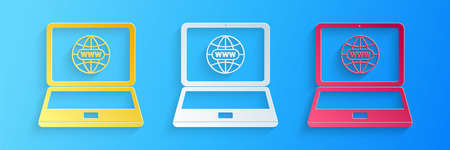 Paper cut Website on laptop screen icon isolated on blue background. Globe on screen of laptop symbol. World wide web symbol. Paper art style. Vector