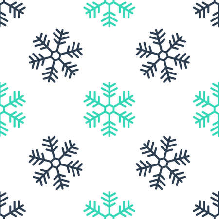 Green Snowflake icon isolated seamless pattern on white background. Vector