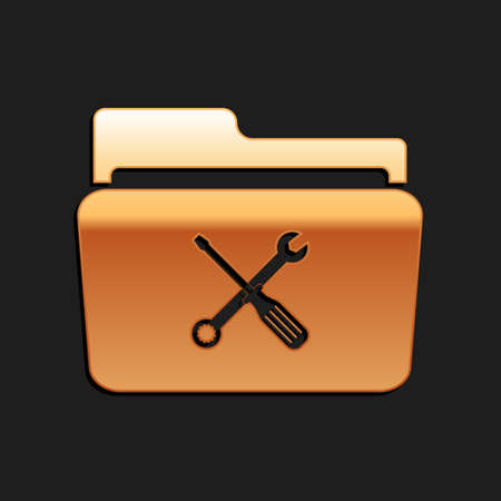 Gold Folder and tools or settings icon isolated on black background. Folder with wrench and screwdriver sign. Computer technical service. Long shadow style. Vector