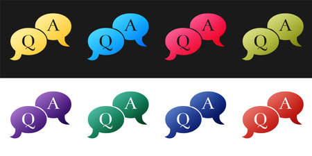 Set Question and Answer mark in speech bubble icon isolated on black and white background. Q and A symbol. FAQ sign. Copy files, chat speech bubble. Vector Illusztráció