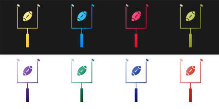 Set American football with goal post icon isolated on black and white background. Vector Ilustracja