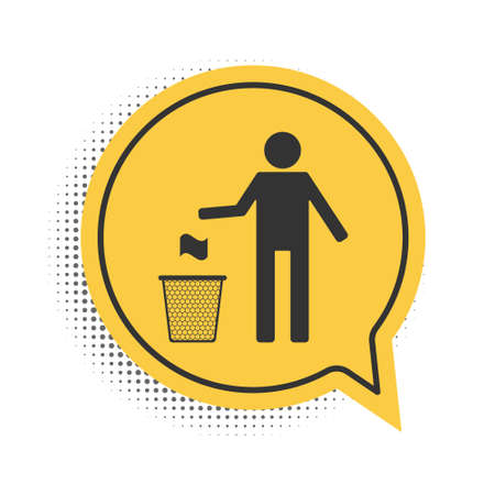 Black Man throwing trash into dust bin icon isolated on white background. Recycle symbol. Trash can sign. Yellow speech bubble symbol. Vector