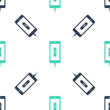 Green Smartphone battery charge icon isolated seamless pattern on white background. Phone with a low battery charge and with USB connection. Vector